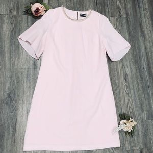 Karl Lagerfeld Pale Pink Pearl Neck Dress Size 6